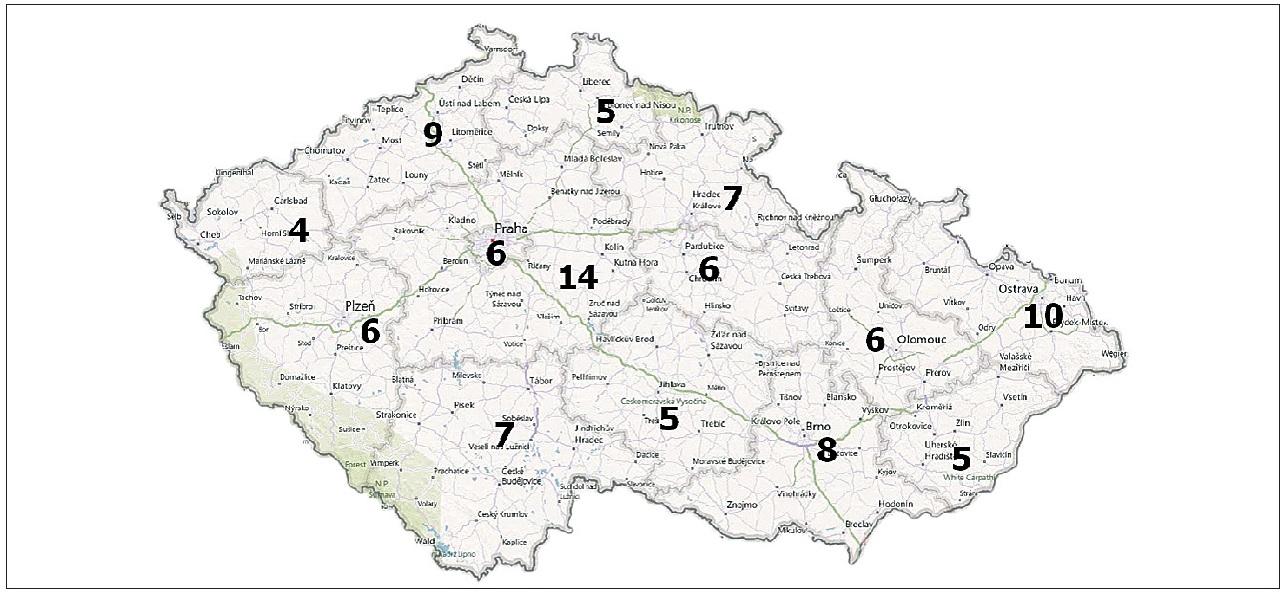 Počty porodnic v jednotlivých krajích České republiky.