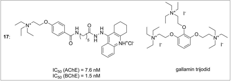 Takrin-gallaminová série (17), pro ilustraci je zobrazena i struktura samotného gallaminu