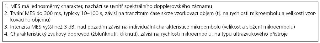 Základní audiovizuální kritéria pro detekci MES [4,14].