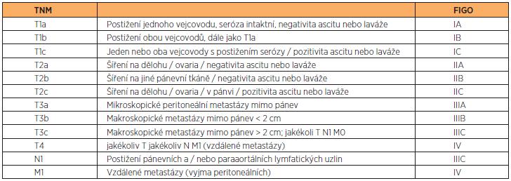 Souhrn klasifikací TNM a FIGO