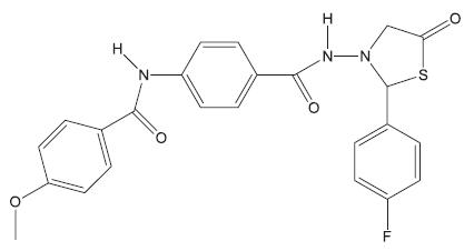Derivát 4-thiazolidinu – inhibitor biosyntézy peptidoglykanu