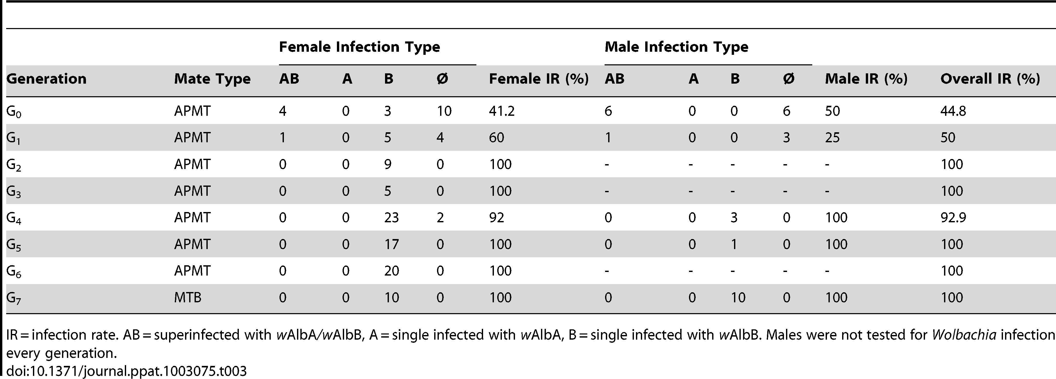<i>Wolbachia</i> infection following the generation of the MTB strain.