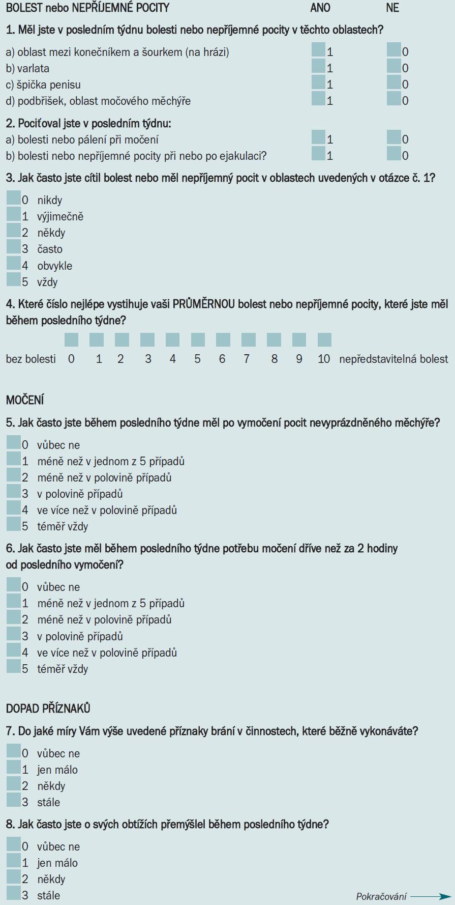 Dotazník NIH - Chronic Symptom Index (NIH - CPSI).