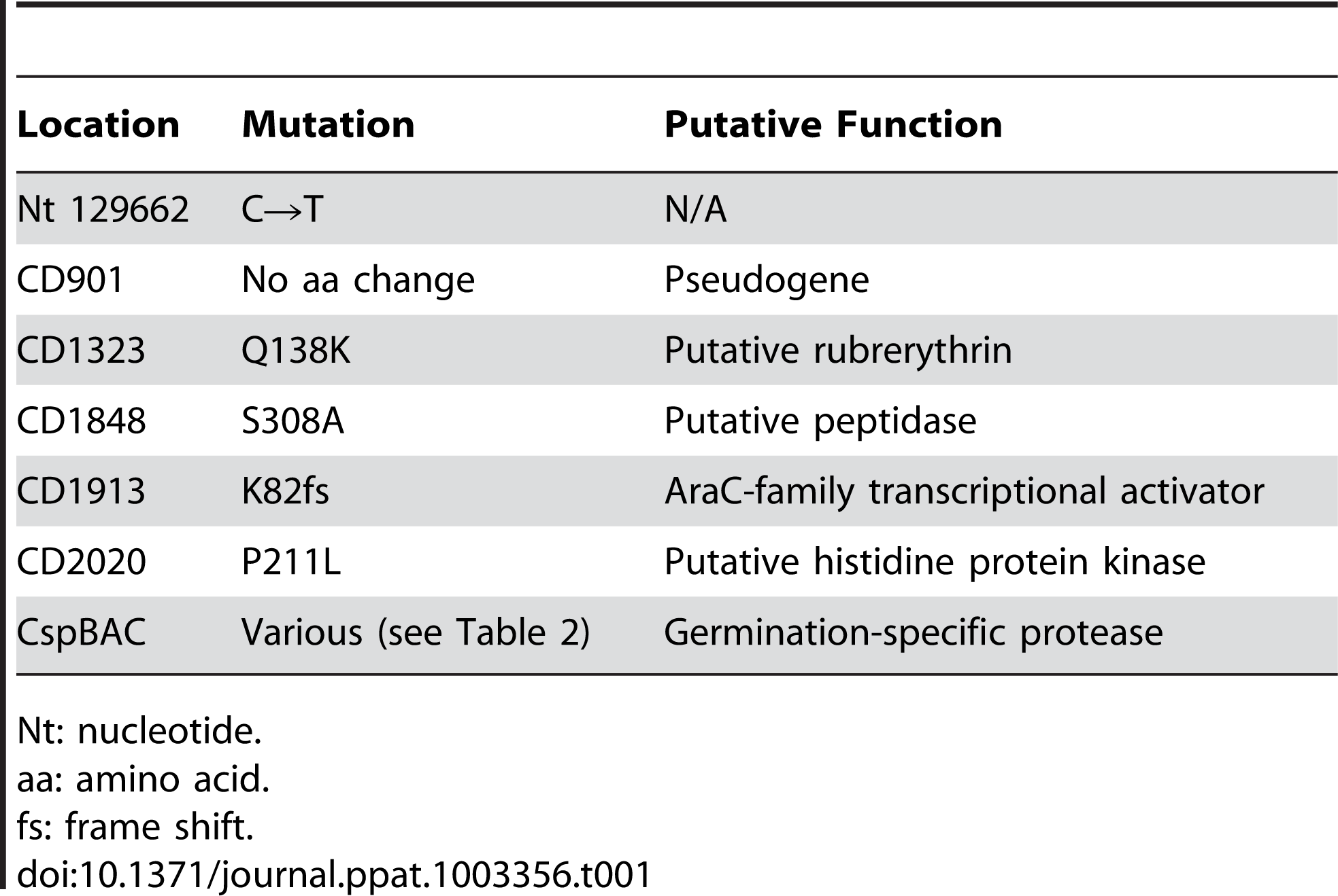 Locations of the SNPs common to all 10 <i>C. difficile ger</i> isolates. Gene numbering is based upon <i>C. difficile</i> R20291 gene numbering.