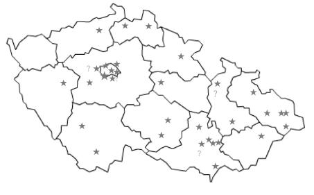 Rozložení Center pro závislé na tabáku a nemocnic v České republice * Centra pro závislé na tabáku, H – HPH (Health Promoting Hospitals)