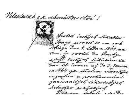 Úvod žádosti na České gubernium o povolení prvního sjezdu českých lékařů