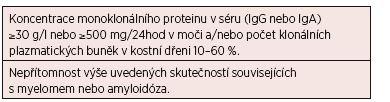 """Tab. 4. 6 Revidovaná diagnostická kritéria """"smoldering"""" (doutnajícího, asymptomatického) mnohočetného myelomu*"""