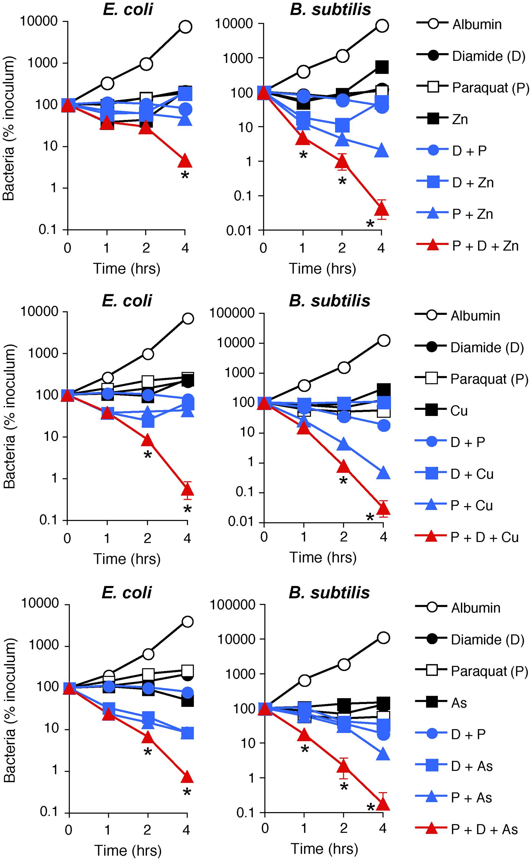 H<sub>2</sub>O<sub>2</sub> production, thiol depletion, and Zn, Cu, or As synergistically kill <i>E. coli</i> and <i>B. subtilis</i>.