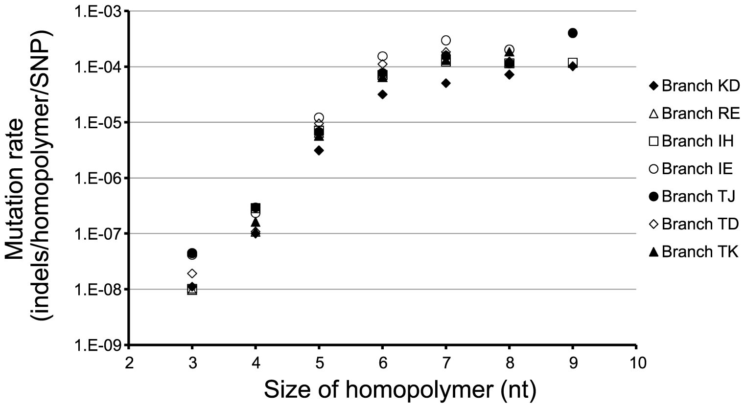 Mutation rates of homopolymers.