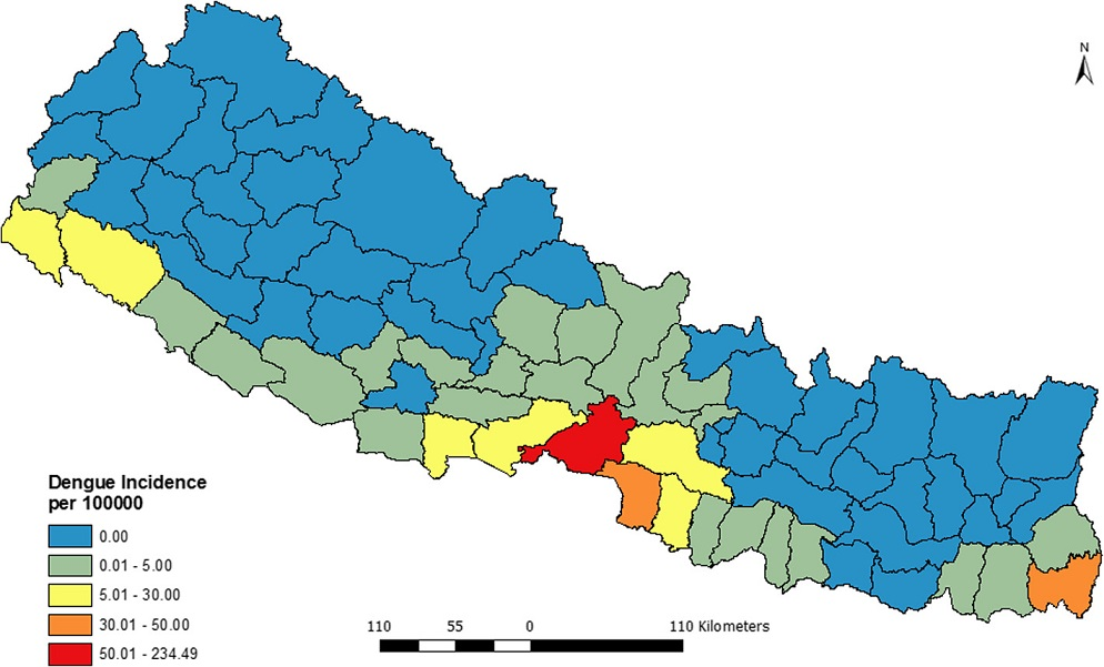 Annualized average incidence of dengue fever in Nepal (2010–2014)