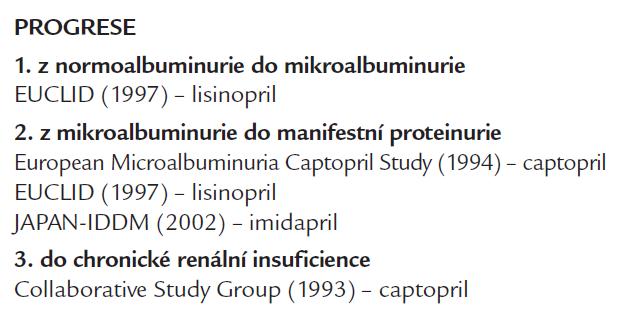 Studie renoprotektivního účinku inhibitorů ACE na progresi DN při DM 1. typu.