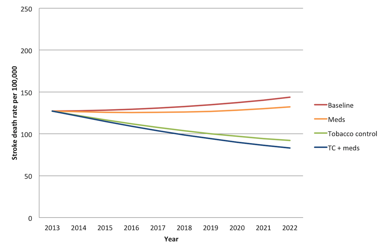 Overall mortality trend for strokes in India over the period 2013–2022.