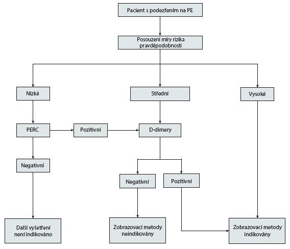 Schéma 1 Doporučený klinický postup u pacientů s podezřením na PE