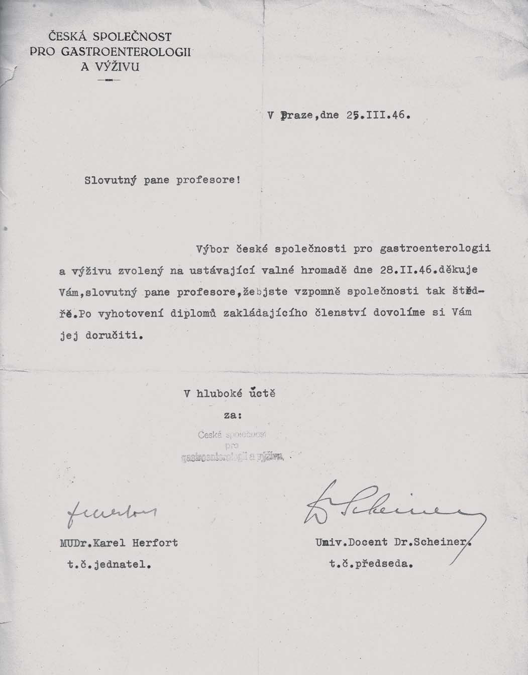 Dopis prof. Prusíkovi z roku 1946 s díky za příspěvek v počátcích společnosti a příslibem diplomu zakládajícího člena.