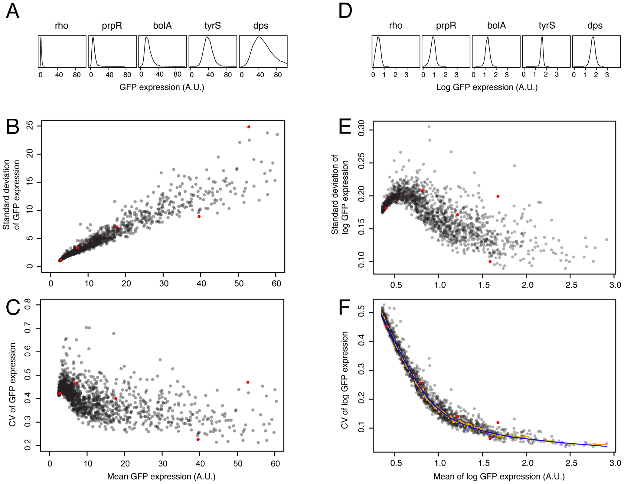 Dependence of variation in mRNA expression on mean mRNA expression level and derivation of a noise metric.