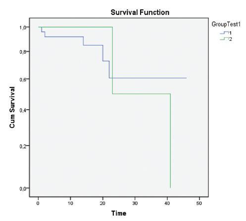 Srovnání délky přežívání nemocných s negativním nálezem v uzlinách a osob s minimálním uzlinovým postižením. Nemocní s negativním nálezem v uzlinách po standardním vyšetření v hematoxylinu-eozinu (HE) byli rozděleni do dvou skupin v závislosti na přítomnosti/absenci minimálního uzlinového postižení detekovaného immunohistochemicky (IHC). Skupina 1 (modrá křivka): n = 24, osoby s negativním nálezem v lymfatických uzlinách = HE negativní, IHC negativní. Skupina 2 (zelená křivka): n = 5, nemocní s nálezem uzlinových mikrometastáz (MM) a/nebo izolovaných nádorových buněk (ITC) = HE negativní, IHC pozitivní. Pro statistické porovnání a hodnocení křivek podle Kaplana-Meyerové byl použit Wilcoxonův-Gehanův test, p = 0,494. Graph. 1. Comparison of patient survival rates in patients with negative lymph node findings and in patients with minimum lymph node affection. Patients with negative lymph node findings after standard examination using HE (hematoxylin- eosin) staining were assigned to two groups depending on presence or absence of minimum lymph node affection, detected on immunohistochemical examination (IHC). Group 1 (blue curve): n = 24, subjects with negative lymph node findings = HE negative, IHC negative. Group 2 (green curve): n = 5, subjects with findings of lymph node micrometastases (MMs) and/or isolated tumor cells (ITCs) = HE negative, IHC positive. The Wilcoxon-Gehan test was used for statistical comparison and assessment the curves, according to Kaplan-Meyer, p = 0,494.
