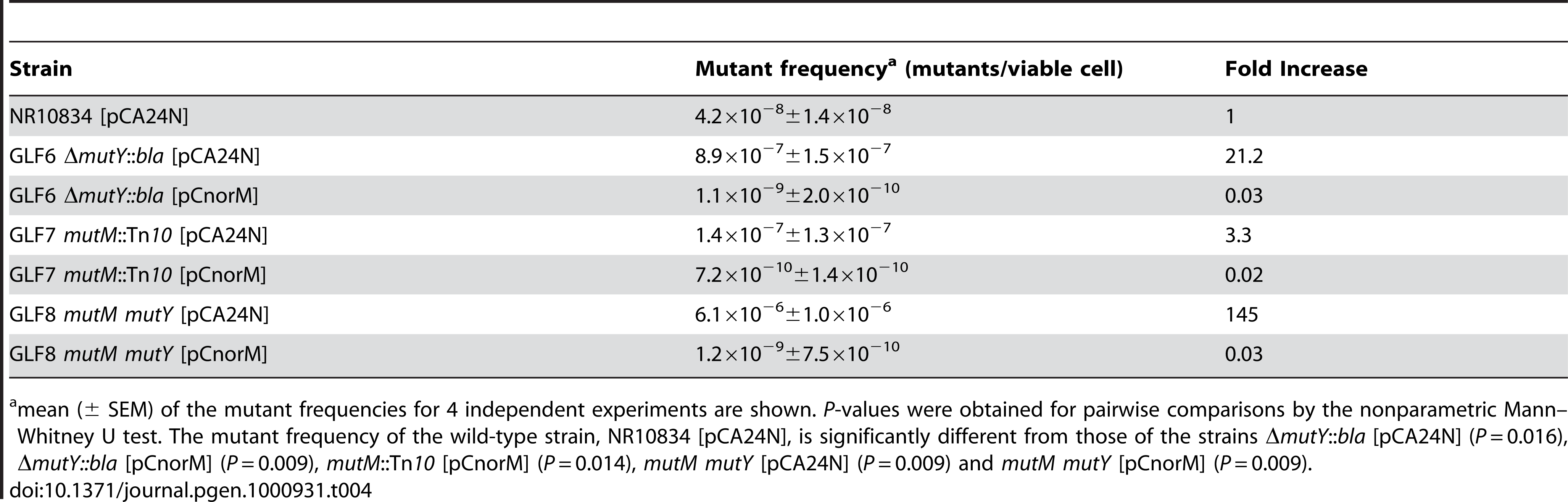 Spontaneous Lac<sup>−</sup> to Lac<sup>+</sup> mutant frequencies of the wild-type and <i>mutM</i>, <i>mutY</i> and <i>mutM mutY</i> derivatives with or without the <i>norM</i>-encoding plasmid.
