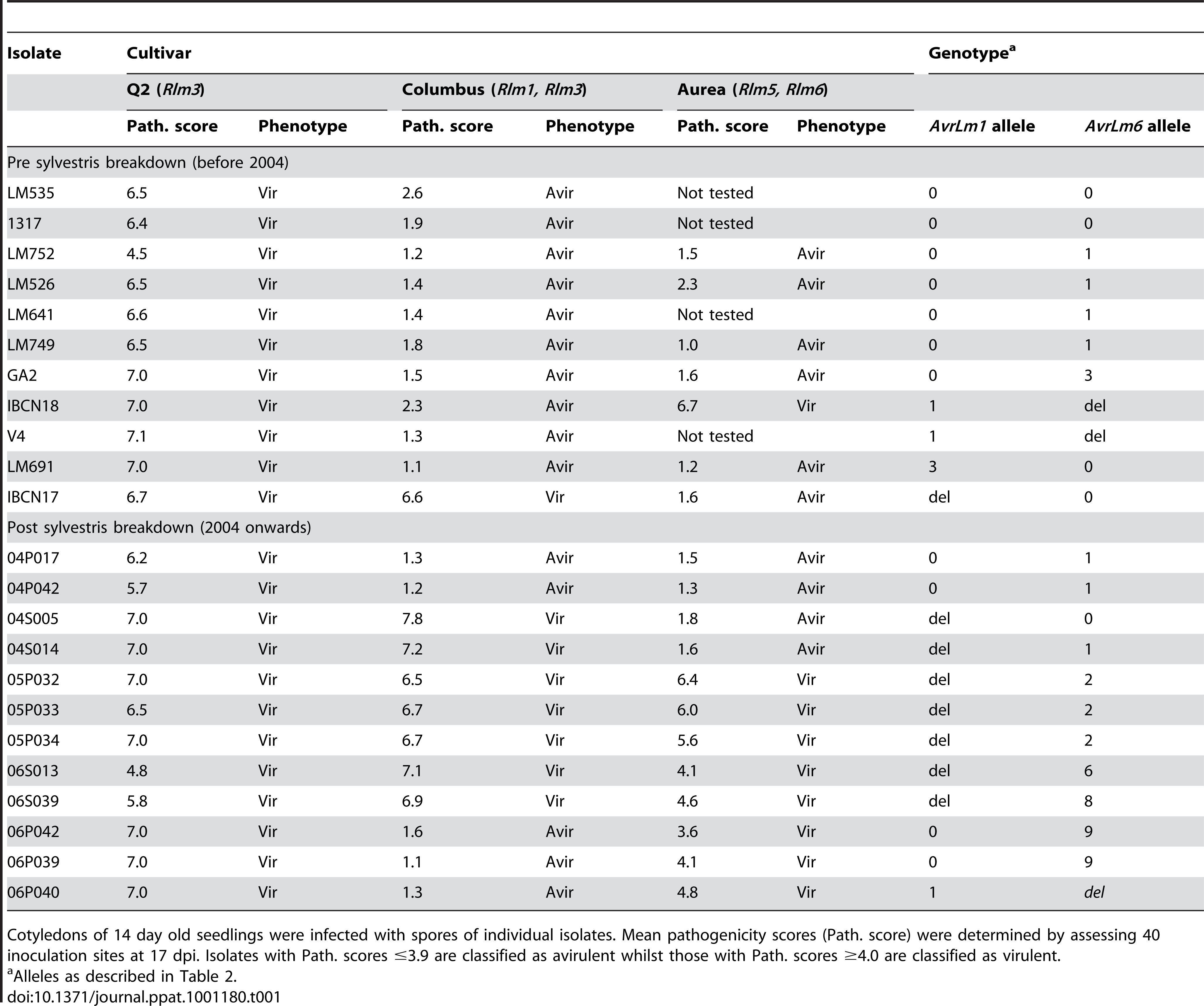 Pathogenicity of Australian isolates of <i>Leptosphaeria maculans</i> on cotyledons of <i>Brassica napus</i> cultivars Q2 and Columbus and <i>B. juncea</i> cv. Aurea.