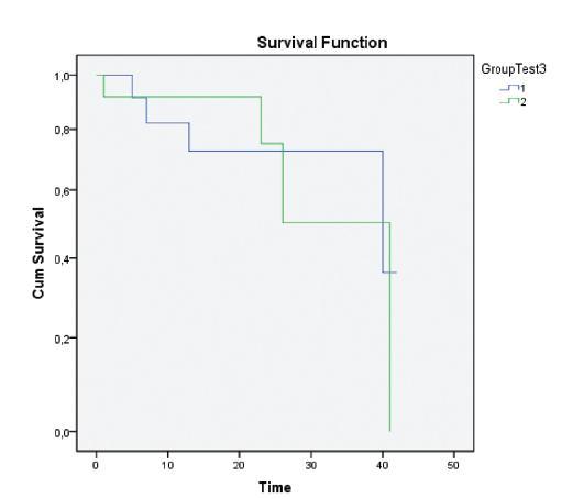 Srovnání délky přežívání nemocných s mikrometastázami (MM) a osob s izolovanými nádorovými buňkami (ITC). Skupina 1 (modrá křivka): n = 14, osoby s nálezem uzlinových mikrometastáz (MM +). Skupina 2 (zelená křivka): n = 12, nemocní s nálezem izolovaných nádorových buněk (ITC +). Pro statistické porovnání a hodnocení křivek podle Kaplana-Meyerové byl použit Wilcoxonův-Gehanův test, p = 0,925. Graph. 3. Comparison of patient survival rates in patients with micrometastases (MMs) and in subjects with isolated tumor cells (ITCs). Group 1 (blue curve): n = 14, subjects with lymph node micrometastases findings (MM +). Group 2 (green curve): n = 12, patients with isolated tumor cells findings (ITC +). The Wilcoxon-Gehan test was used for statistical comparison and assessment the curves, according to Kaplan-Meyer, p = 0,925.