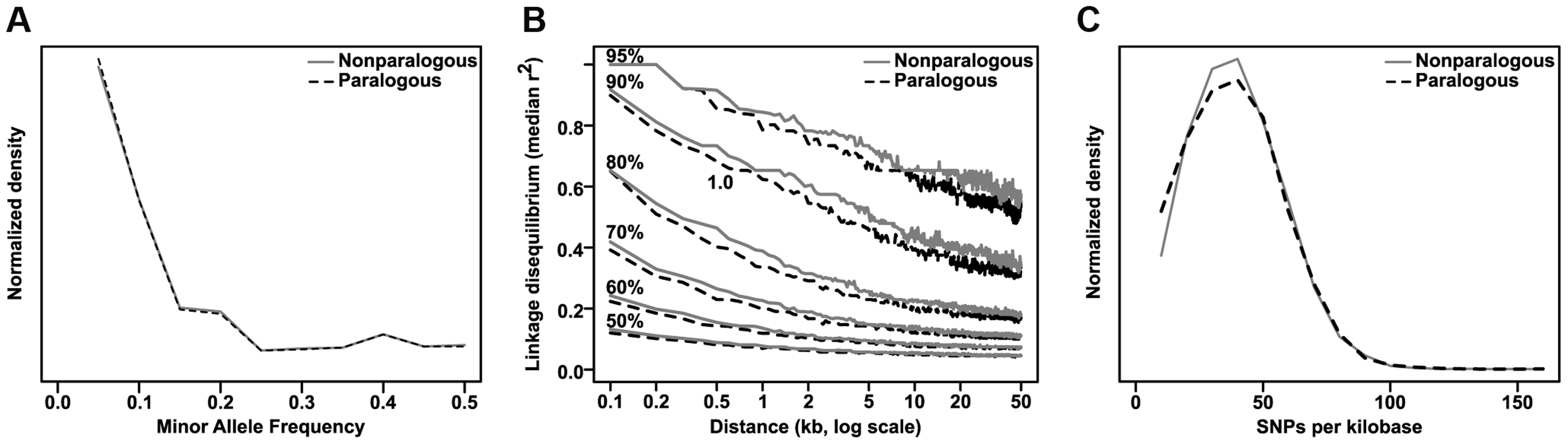 Comparison of paralogous to nonparalogous genes.
