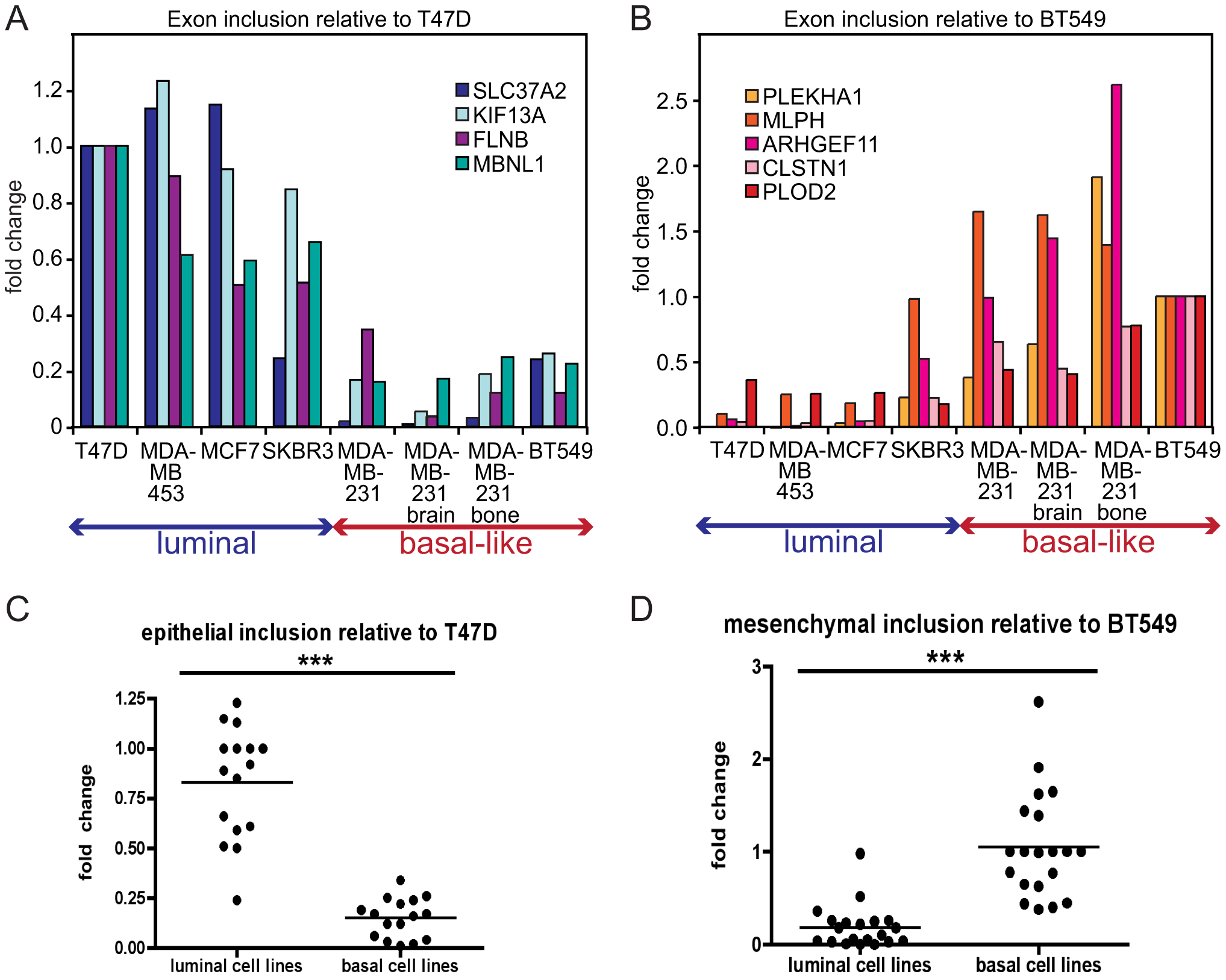 EMT–associated alternative splicing events are confirmed in breast cancer cell lines.