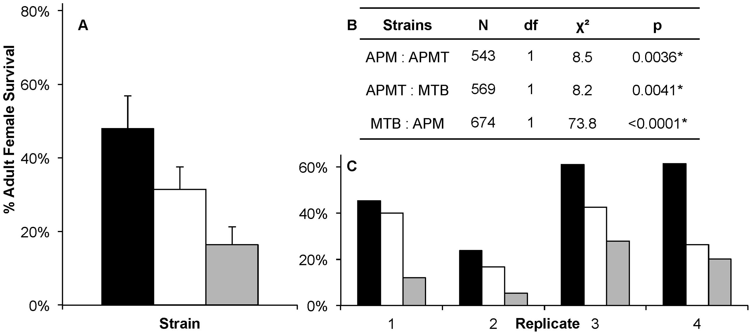 Survivorship of <i>Ae. polynesiensis</i> strains after a <i>Brugia</i>-infected blood meal.