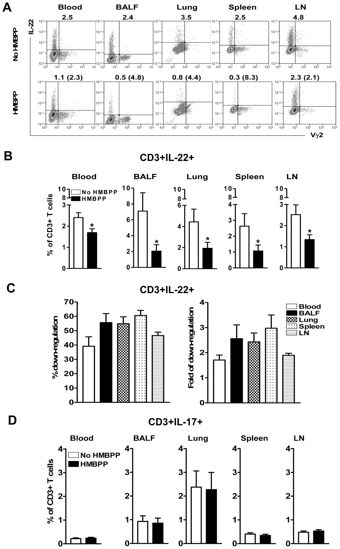 Phosphoantigen HMBPP activation of Vγ2Vδ2 T cells down-regulated the capability of T cells to actively produce IL-22 but not IL-17 <i>de novo</i> in lymphocytes from blood, lungs/BAL fluid, spleens and lymph nodes.