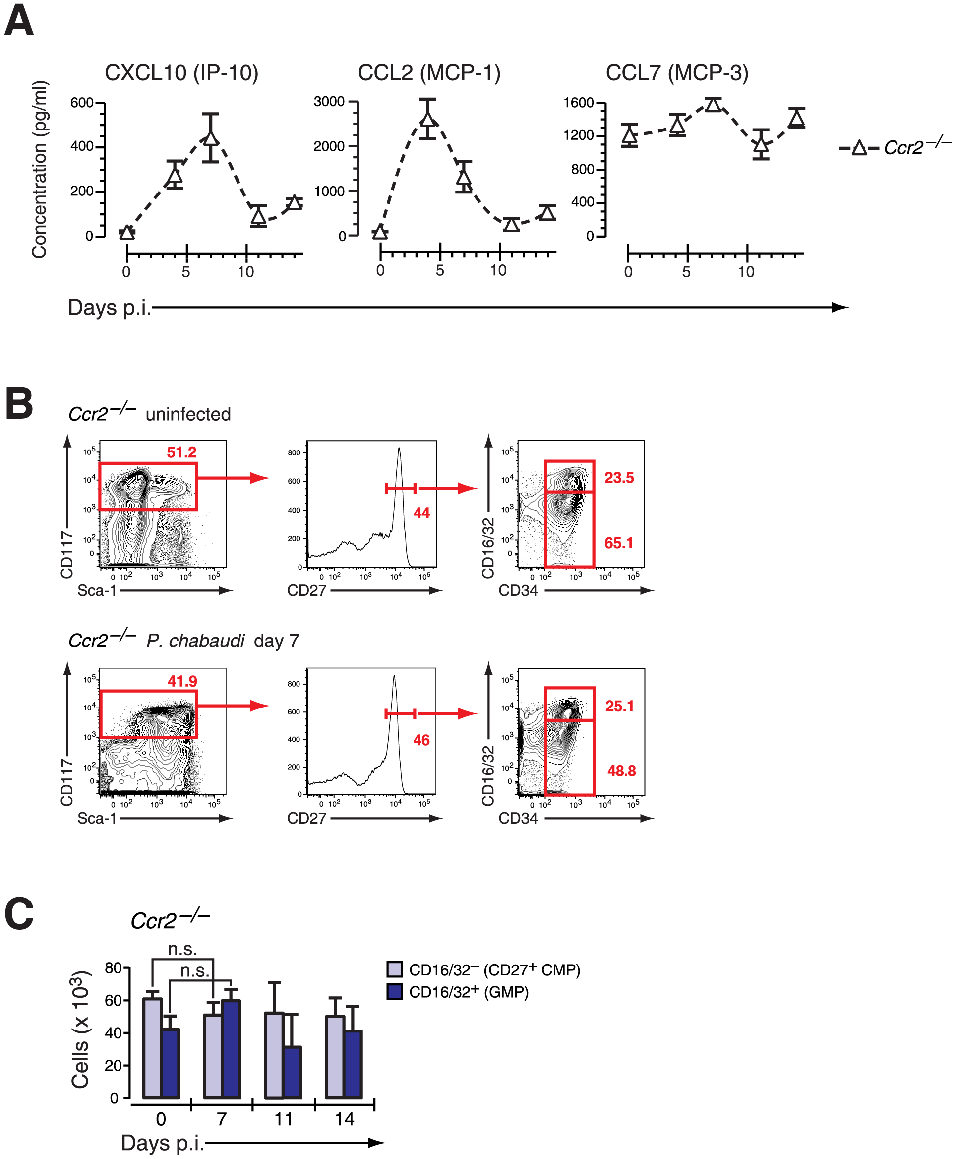<i>Ccr2</i>-null mice induce IFN-γ-dependent chemokines but do not mobilize early myeloid progenitors.