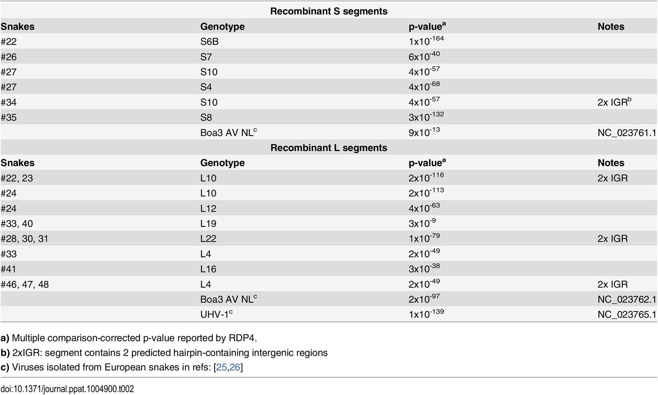 Summary of recombinant genome segments identified.