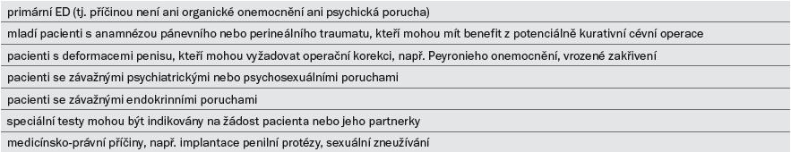 Indikace pro speciální diagnostické vyšetření.