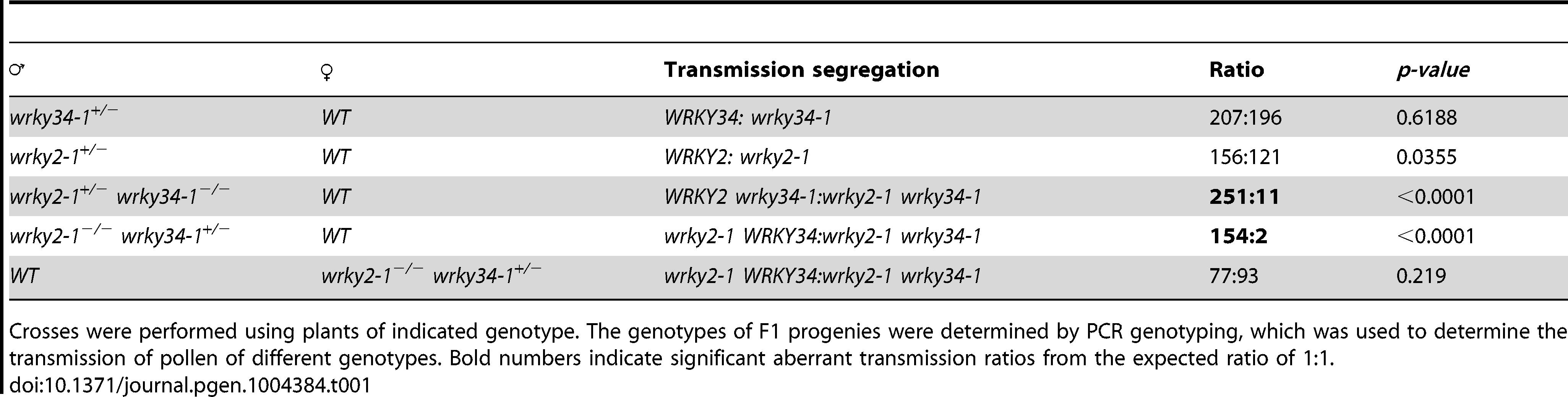 Transmission of <i>wrky2-1</i> and <i>wrky34-1</i> single and double mutant alleles.