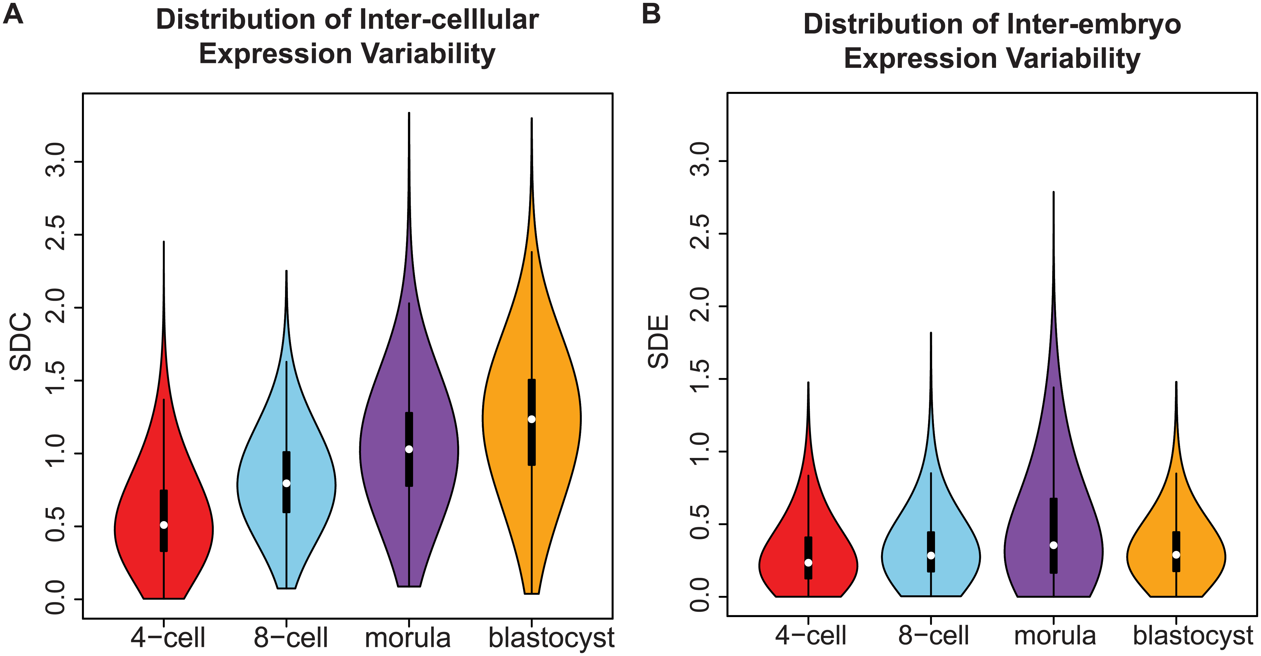 Distribution of gene expression variability during embryonic development.