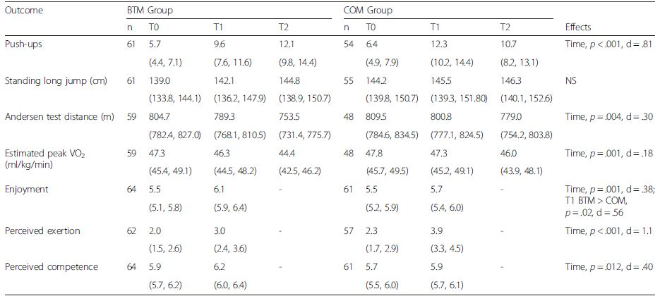 Adjusted fitness and questionnaire outcomes (means and 95 % confidence intervals)