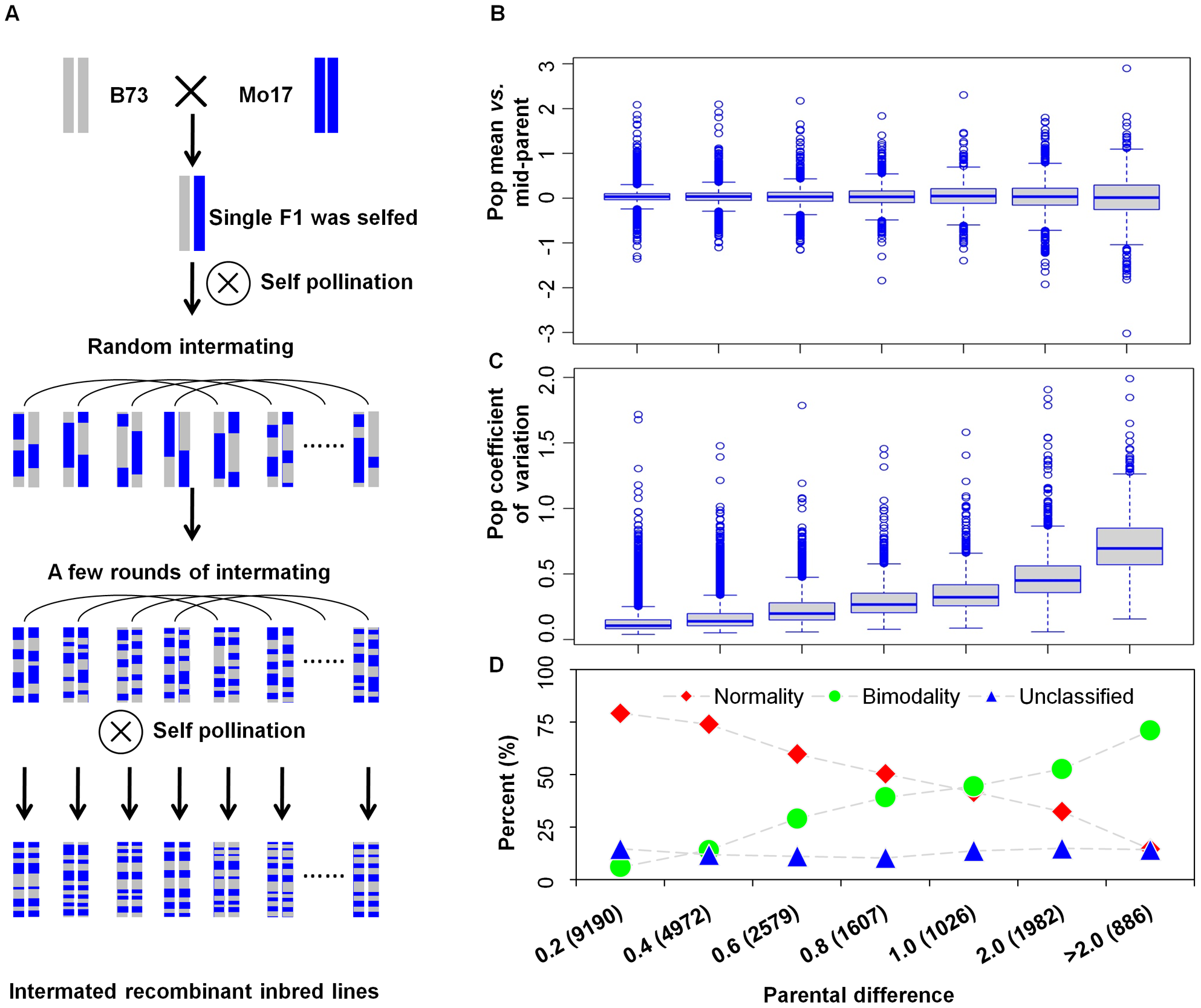 The intermated B73×Mo17 recombinant inbred lines (IBM RIL) and the relationship between expression variation in the RILs and expression fold change in the parents.