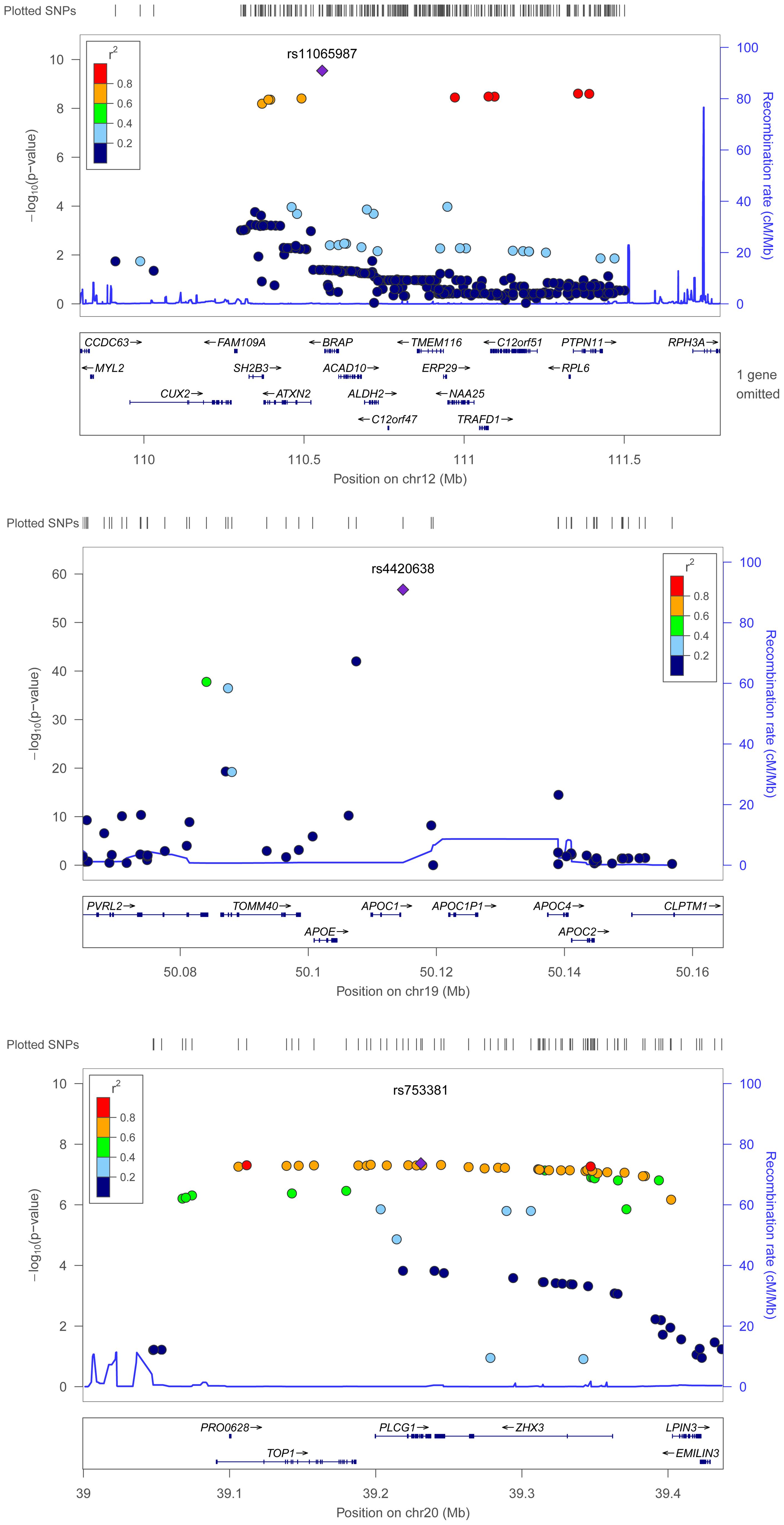 Regional association plots for metabolic syndrome trait dimensions associated with <i>APOC1</i>, <i>BRAP</i>, and <i>PLCG1</i>.