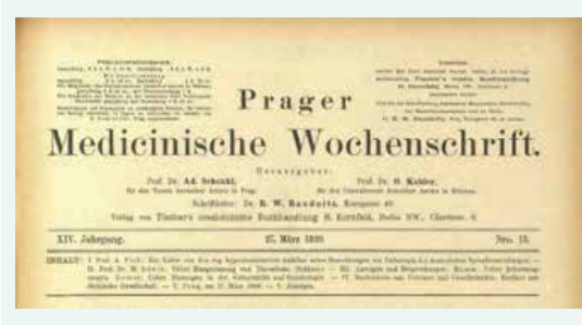 Prager medicinische Wochenschrift 1889; 14(13) – poslední číslo redigované Kahlerem