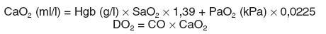 CaO<sub>2</sub> – obsah kyslíku arteriální krve, Hgb – koncentrace hemoglobinu, SaO<sub>2</sub> – saturace arteriální krve kyslíkem, 1,39 – 1 g hemoglobinu váže 1,39 ml kyslíku, PaO<sub>2</sub> – parciální arteriální tlak kyslíku, 0,0225 – koeficient rozpustnosti kyslíku, DO<sub>2</sub> – dodávka kyslíku, CO – srdeční výdej