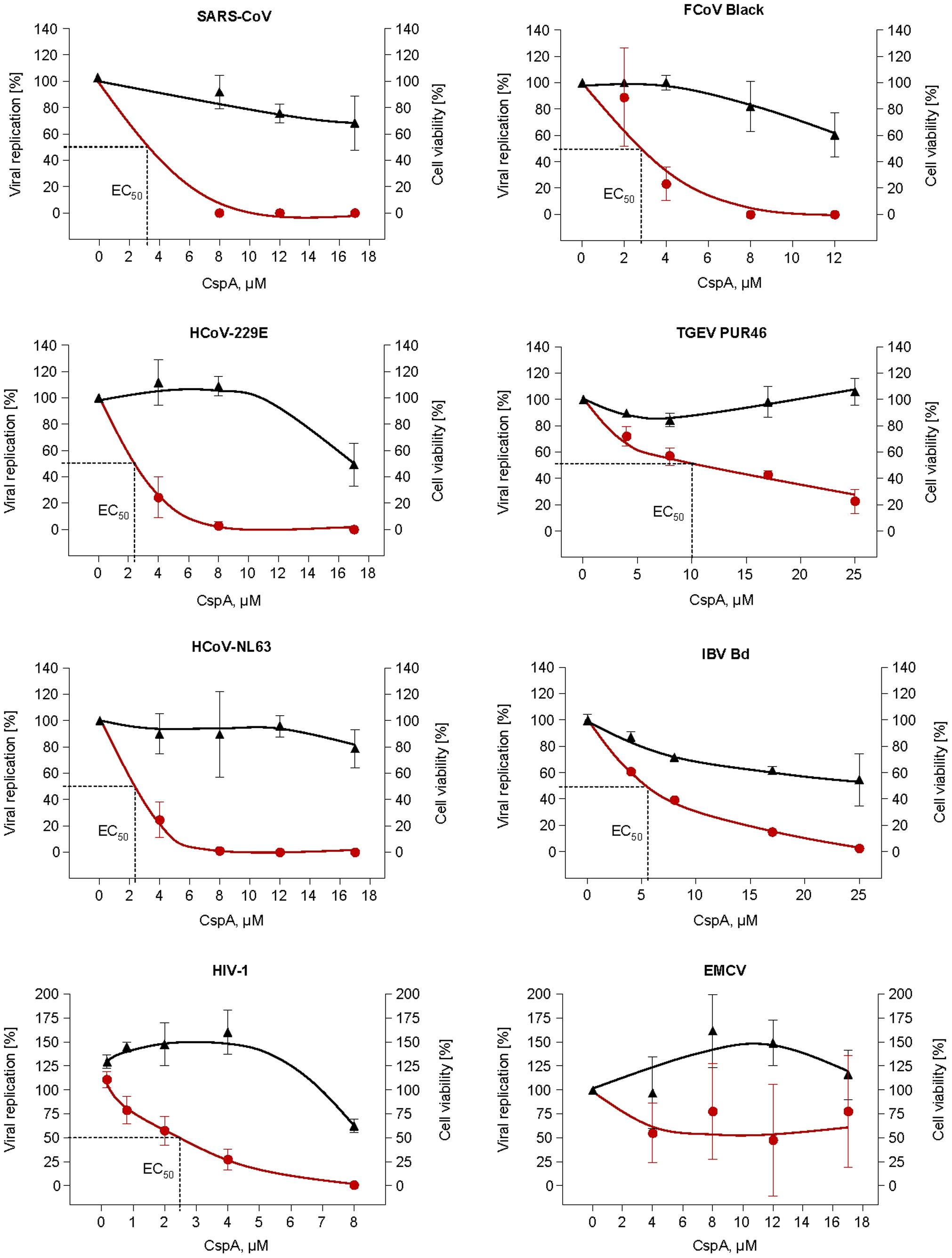 Effect of Cyclosporin A on human (SARS-CoV, HCoV-229E-luc and HCoV-NL63), animal CoV (FCoV, TGEV, IBV) and control virus (HIV-1/EMCV) replication.