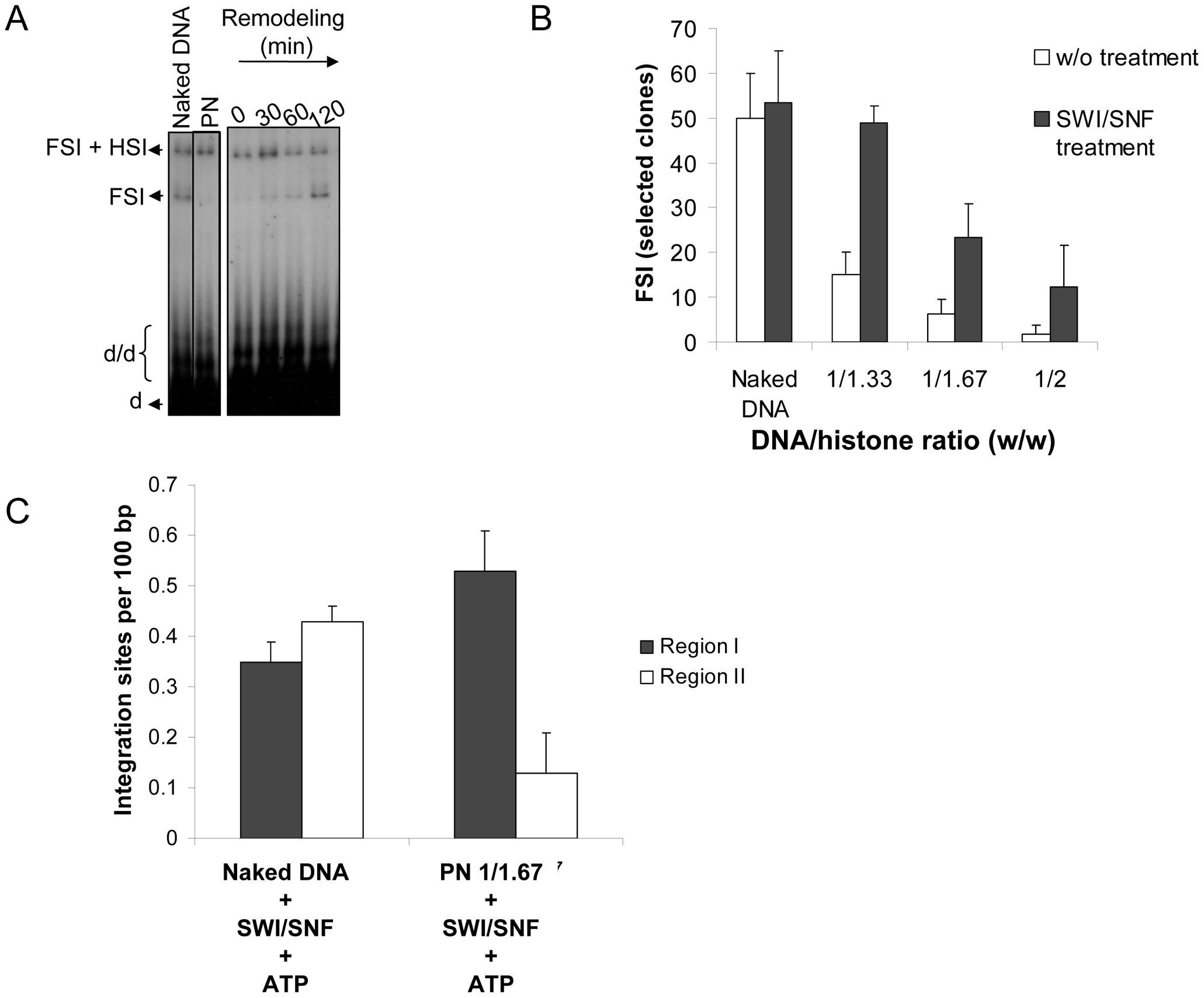 Effect of chromatin remodeling activity of the SWI/SNF complex on the <i>in vitro</i> integration in nucleosomal templates.