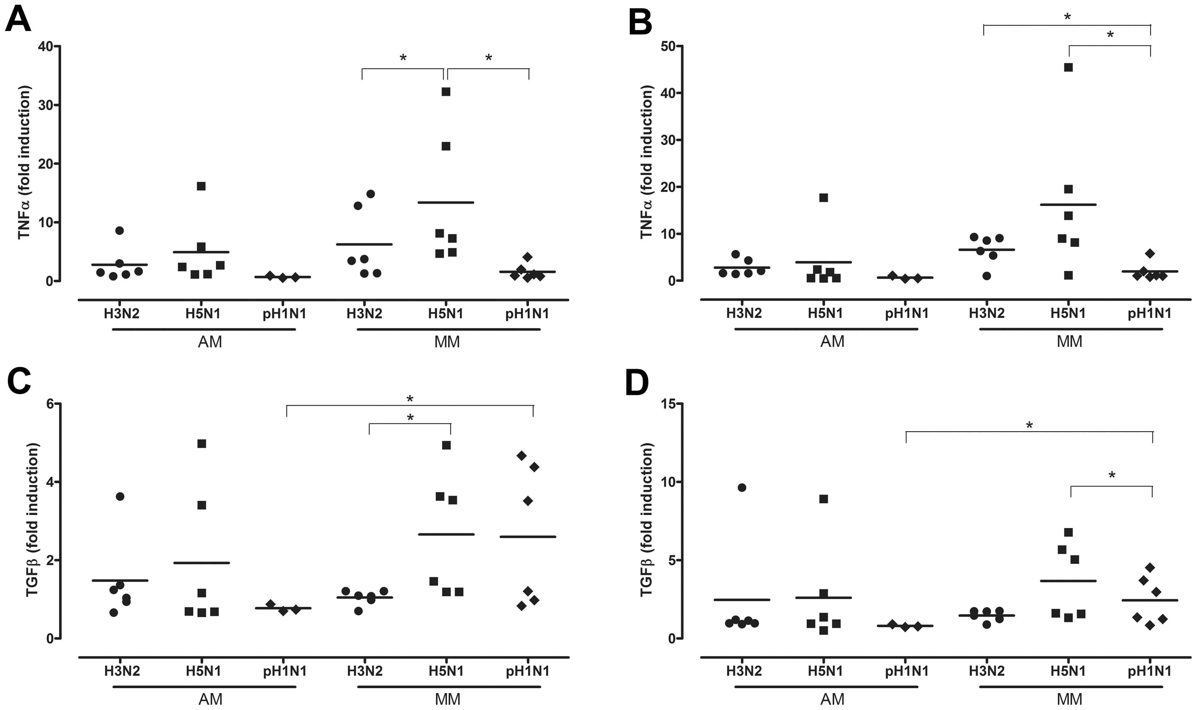 Cytokine mRNA levels after H3N2, H5N1 or H1N1 virus infection.