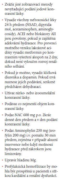 Doporučení pro prevenci CMIN [8].