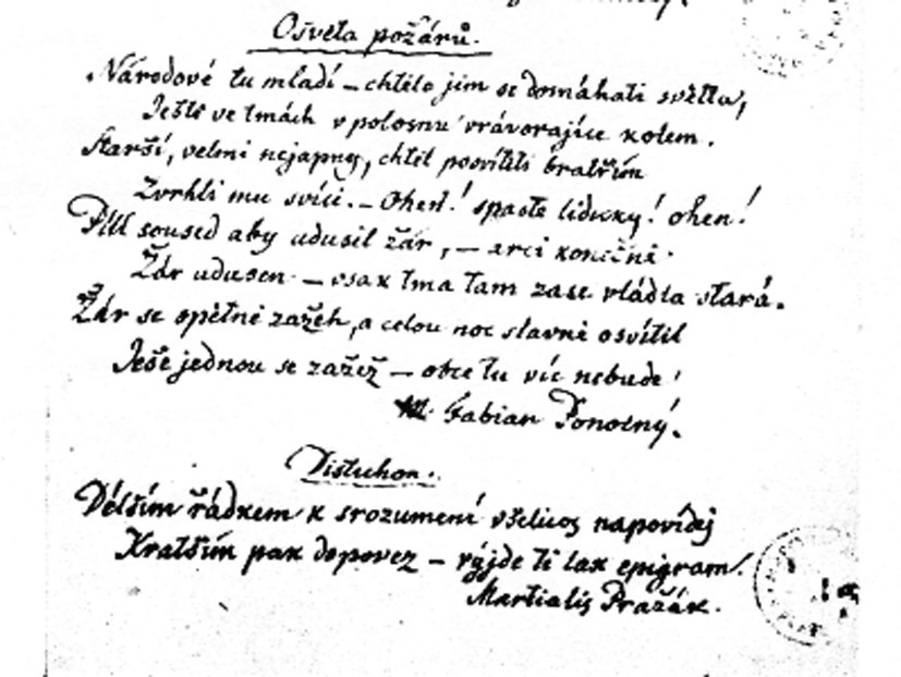 Purkyňův rukopis jeho veršů