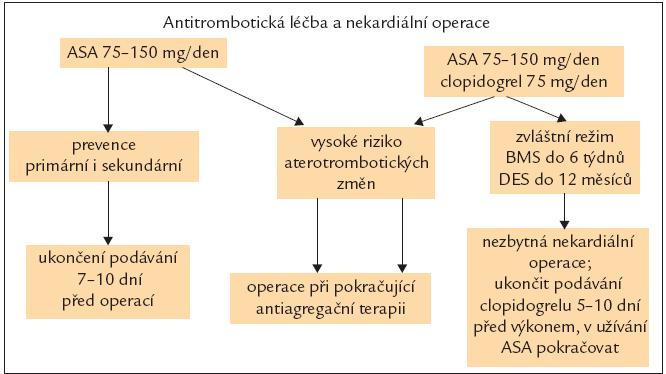 Antitrombotická terapie a operace. ASA – kyselina acetylsalicylová, BMS – metalický stent, DES – polékový stent.