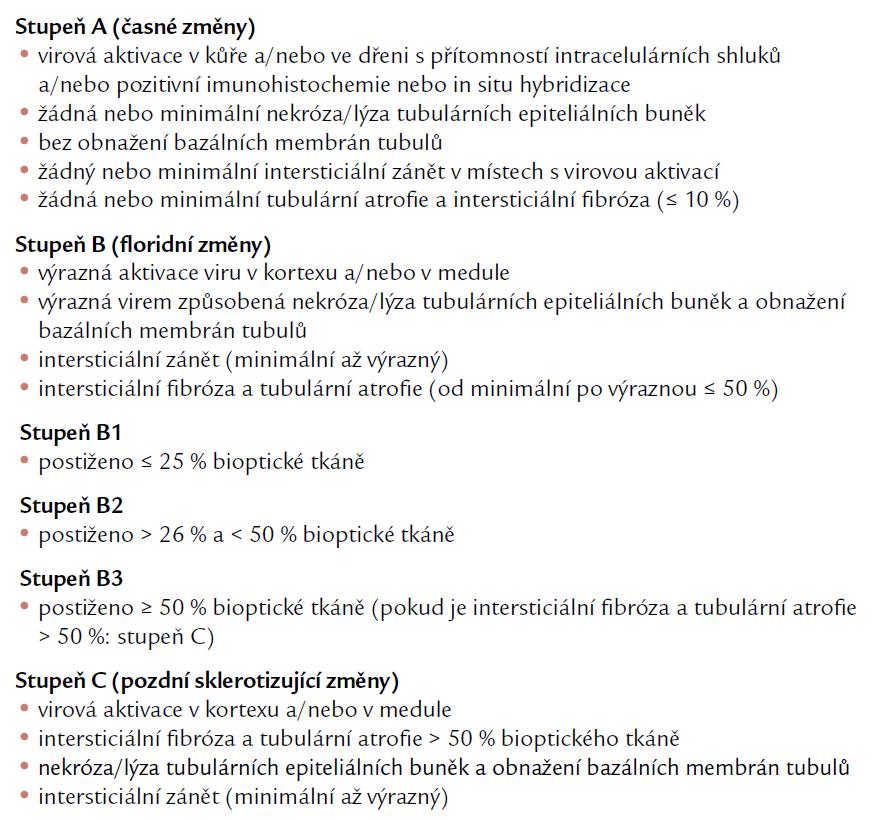 Histologické stupně BK virové nefropatie. Podle [19].