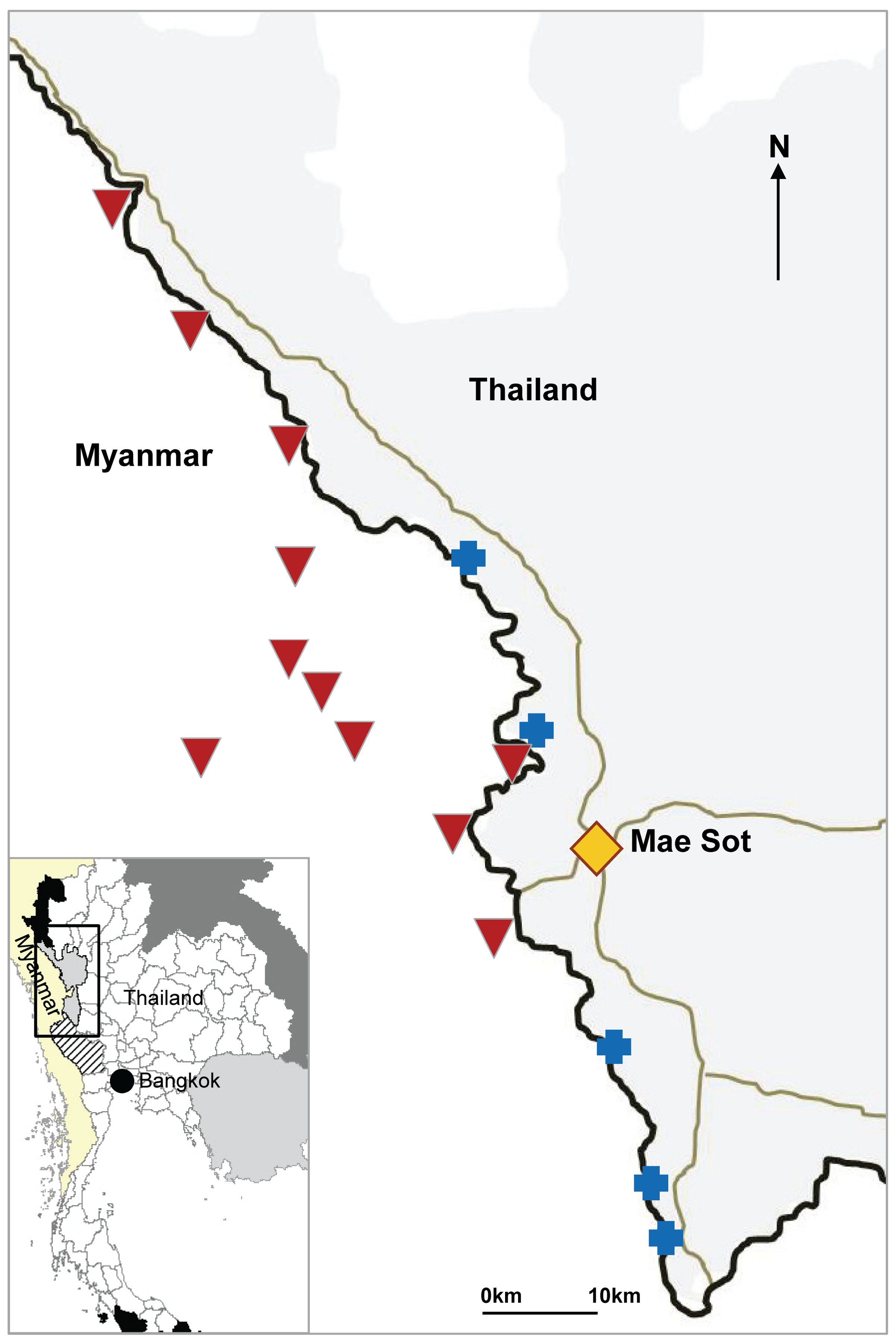 Location of SMRU clinics and cross-border health posts run by village health workers.
