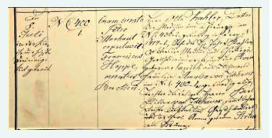 Zápis Ottova sňatku s Amélií Zdekauerovou (1876) – levá strana