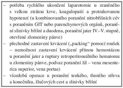 """Indikace k """"damage control"""" laparotomii Tab. 8. Indication for """"damage control"""" laparotomies"""