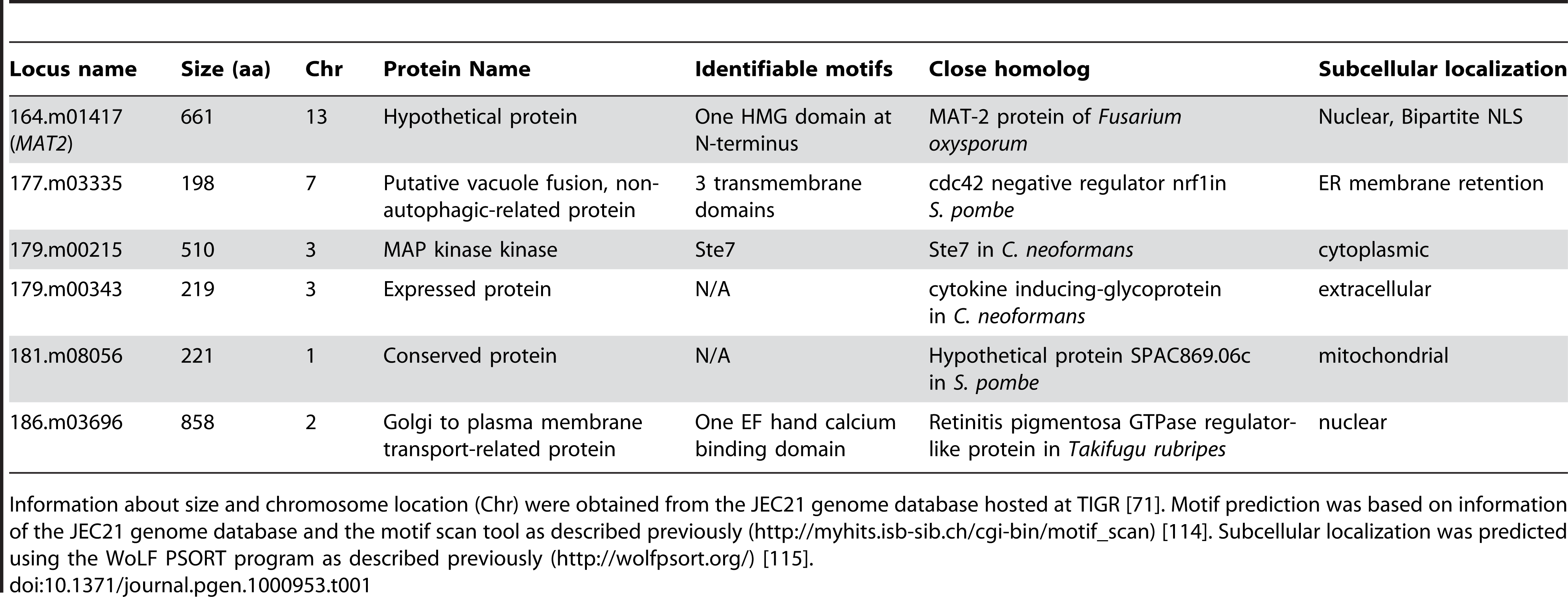 Genes necessary for filamentation based on insertional mutant phenotype.