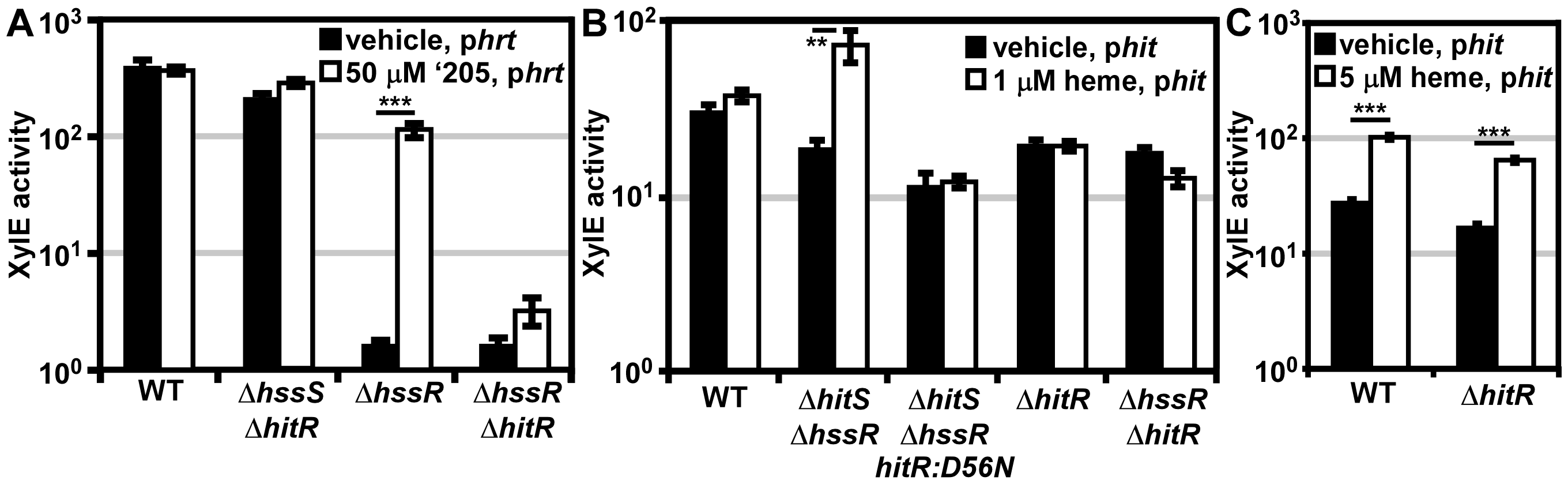 <i>In vivo</i> cross-signaling between HssRS and HitRS.