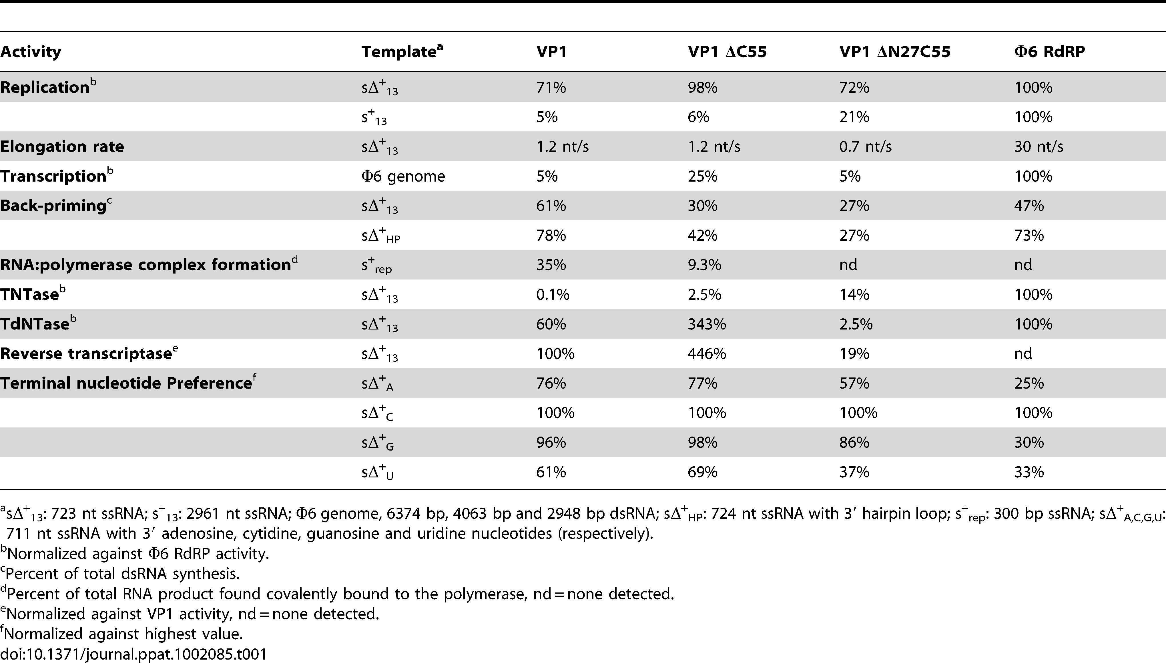 Biochemical characterization of the IPNV VP1 polymerases.